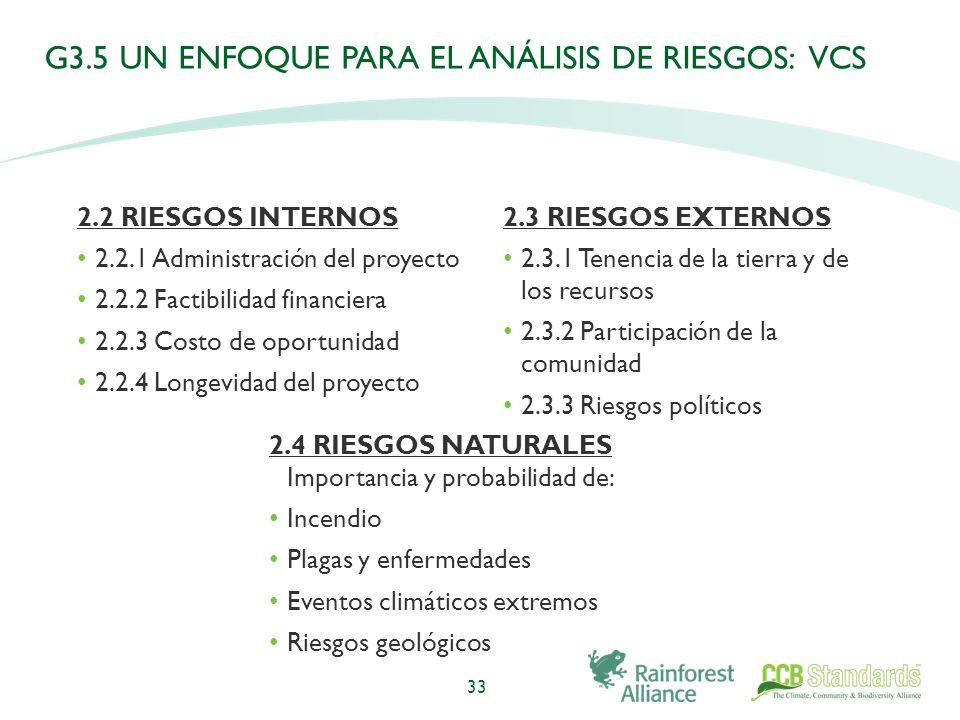 G3.5 UN ENFOQUE PARA EL ANÁLISIS DE RIESGOS: VCS 2.2 RIESGOS INTERNOS 2.2.1 Administración del proyecto 2.2.2 Factibilidad financiera 2.2.3 Costo de oportunidad 2.2.4 Longevidad del proyecto 33 2.4 RIESGOS NATURALES Importancia y probabilidad de: Incendio Plagas y enfermedades Eventos climáticos extremos Riesgos geológicos 2.3 RIESGOS EXTERNOS 2.3.1 Tenencia de la tierra y de los recursos 2.3.2 Participación de la comunidad 2.3.3 Riesgos políticos