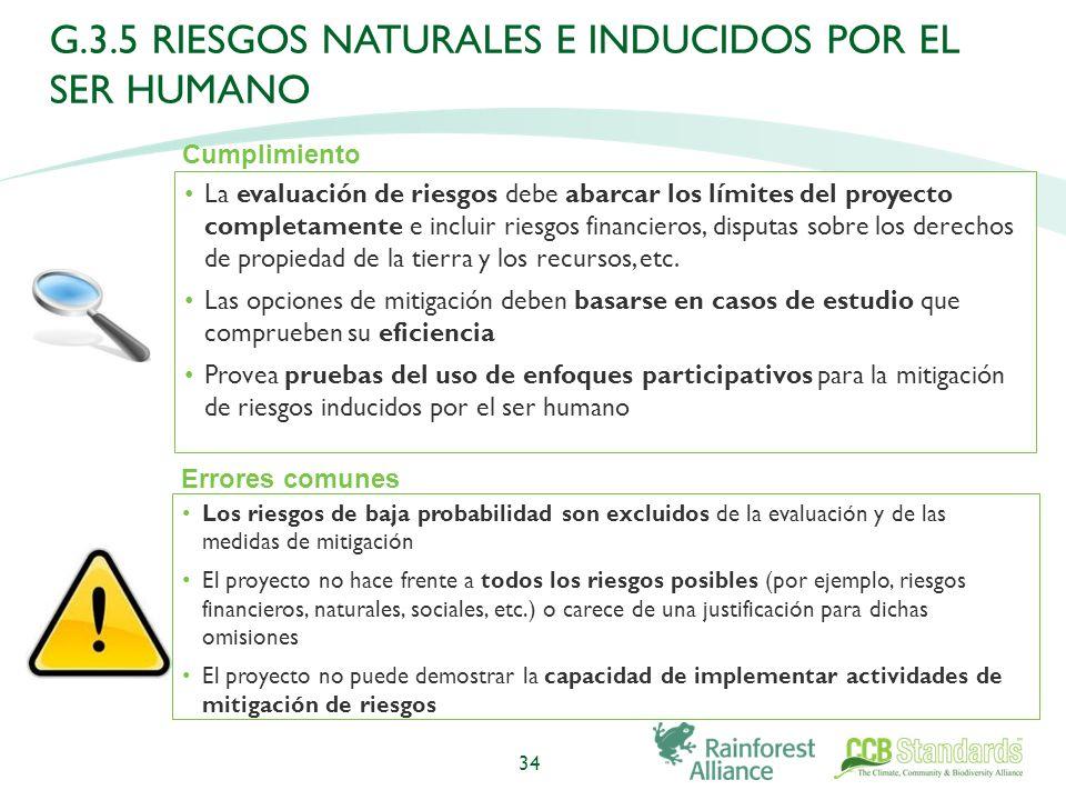 La evaluación de riesgos debe abarcar los límites del proyecto completamente e incluir riesgos financieros, disputas sobre los derechos de propiedad de la tierra y los recursos, etc.