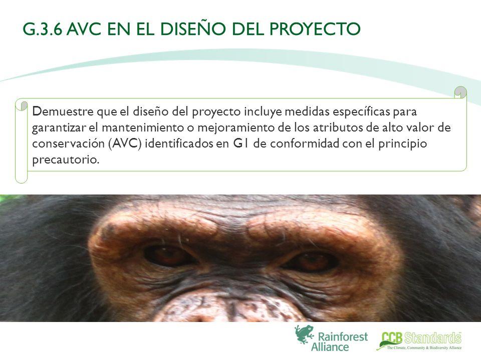 Demuestre que el diseño del proyecto incluye medidas específicas para garantizar el mantenimiento o mejoramiento de los atributos de alto valor de conservación (AVC) identificados en G1 de conformidad con el principio precautorio.