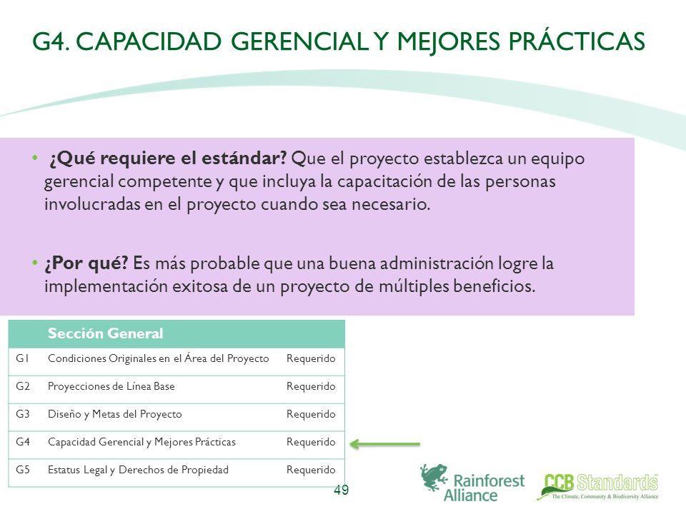 G4. CAPACIDAD GERENCIAL Y MEJORES PRÁCTICAS ¿Qué requiere el estándar.