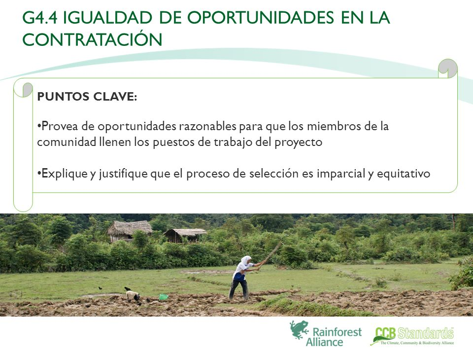 PUNTOS CLAVE: Provea de oportunidades razonables para que los miembros de la comunidad llenen los puestos de trabajo del proyecto Explique y justifique que el proceso de selección es imparcial y equitativo G4.4 IGUALDAD DE OPORTUNIDADES EN LA CONTRATACIÓN