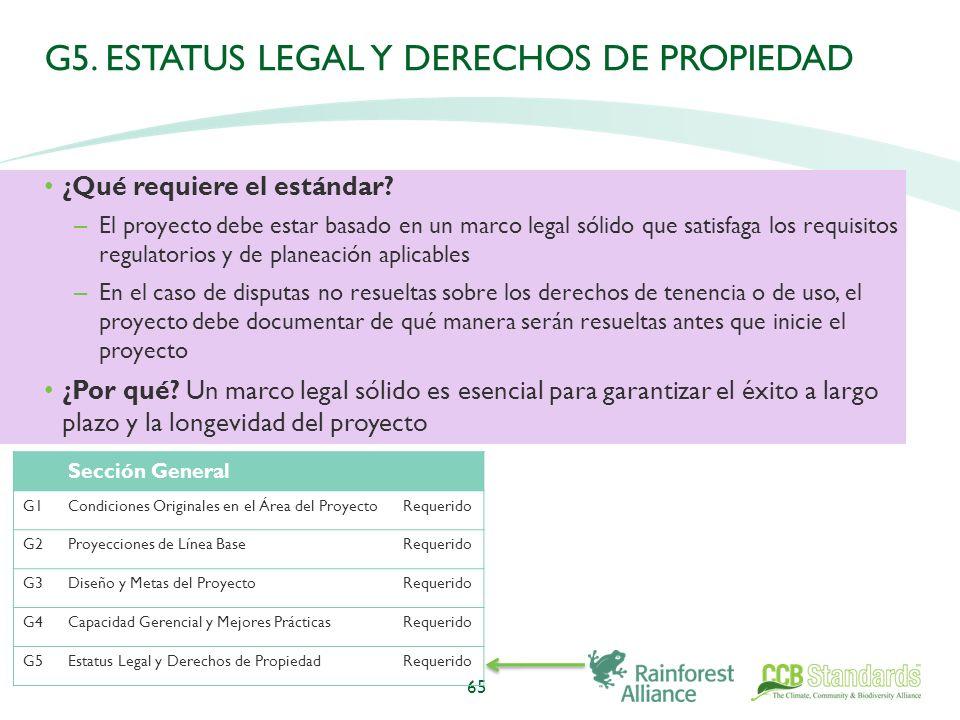 G5. ESTATUS LEGAL Y DERECHOS DE PROPIEDAD ¿Qué requiere el estándar.