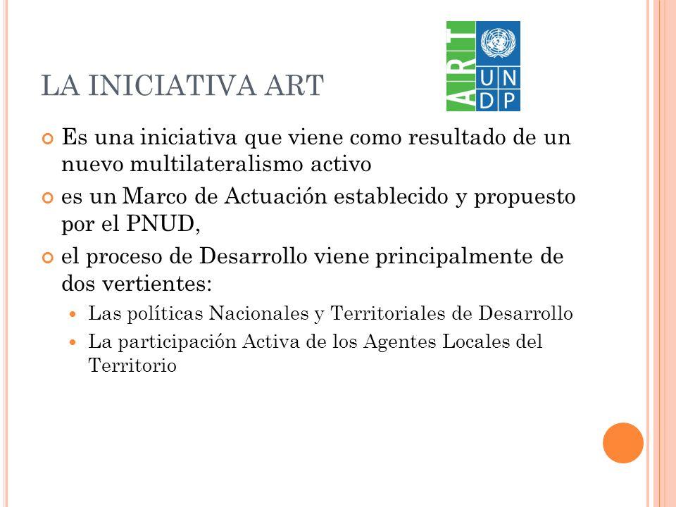 LA INICIATIVA ART Es una iniciativa que viene como resultado de un nuevo multilateralismo activo es un Marco de Actuación establecido y propuesto por el PNUD, el proceso de Desarrollo viene principalmente de dos vertientes: Las políticas Nacionales y Territoriales de Desarrollo La participación Activa de los Agentes Locales del Territorio