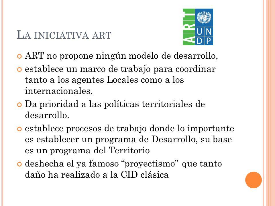 L A INICIATIVA ART ART no propone ningún modelo de desarrollo, establece un marco de trabajo para coordinar tanto a los agentes Locales como a los internacionales, Da prioridad a las políticas territoriales de desarrollo.