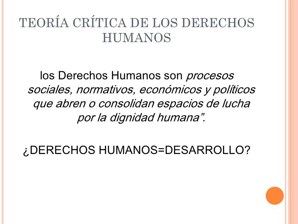 TEORÍA CRÍTICA DE LOS DERECHOS HUMANOS los Derechos Humanos son procesos sociales, normativos, económicos y políticos que abren o consolidan espacios de lucha por la dignidad humana.
