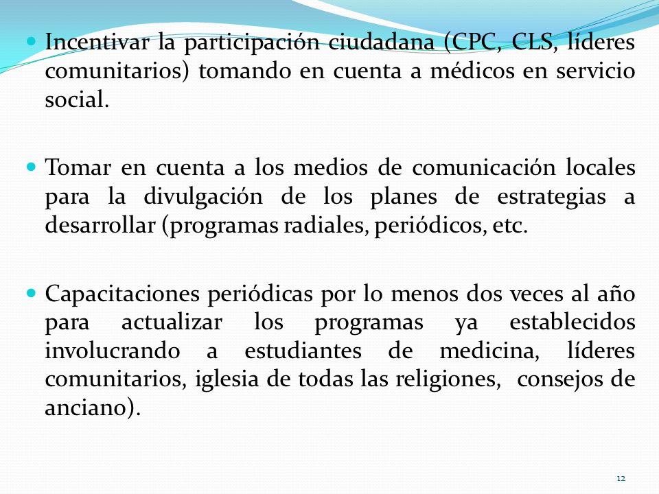 Incentivar la participación ciudadana (CPC, CLS, líderes comunitarios) tomando en cuenta a médicos en servicio social.