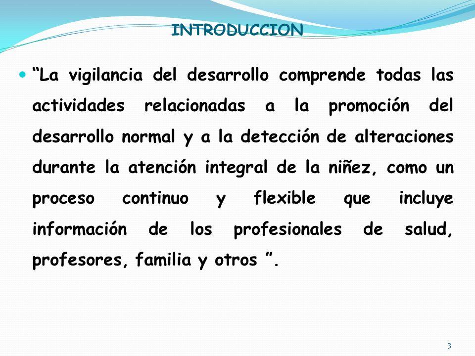 INTRODUCCION La vigilancia del desarrollo comprende todas las actividades relacionadas a la promoción del desarrollo normal y a la detección de alteraciones durante la atención integral de la niñez, como un proceso continuo y flexible que incluye información de los profesionales de salud, profesores, familia y otros.