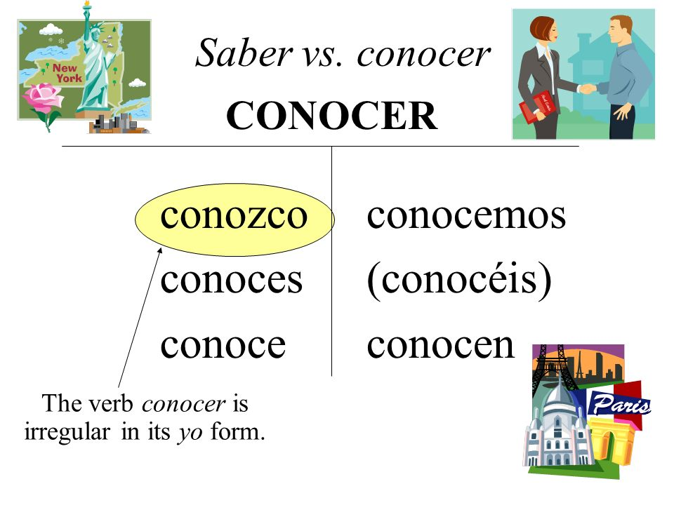 conozco conoces conoce conocemos (conocéis) conocen The verb conocer is irregular in its yo form. Saber vs. conocer CONOCER