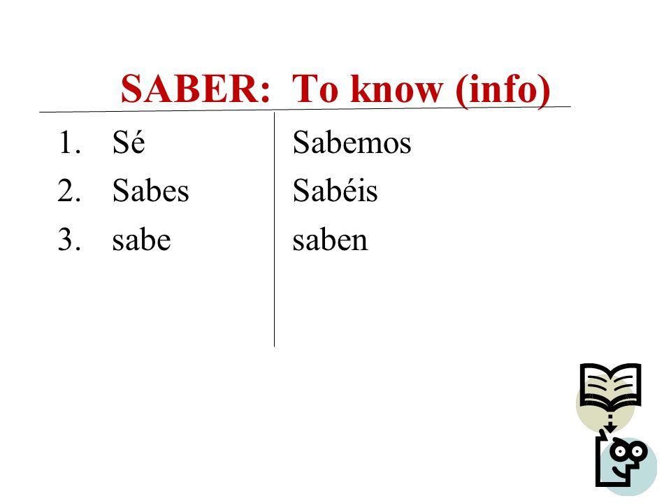 SABER: To know (info) 1.Sé 2.Sabes 3.sabe Sabemos Sabéis saben