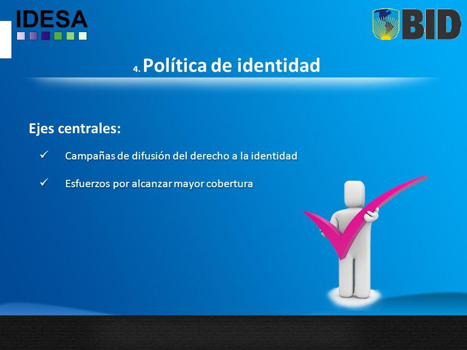 4. Política de identidad Ejes centrales: Campañas de difusión del derecho a la identidad Esfuerzos por alcanzar mayor cobertura Campañas de difusión d