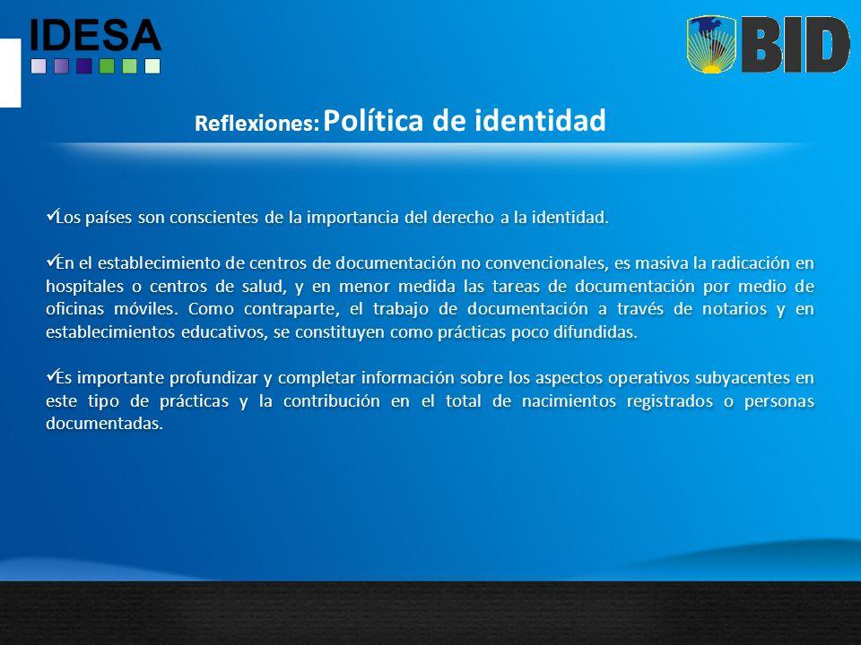 Reflexiones: Política de identidad Los países son conscientes de la importancia del derecho a la identidad.