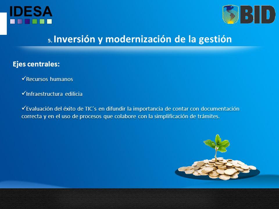 5. Inversión y modernización de la gestión Ejes centrales: Recursos humanos Infraestructura edilicia Evaluación del éxito de TIC´s en difundir la impo