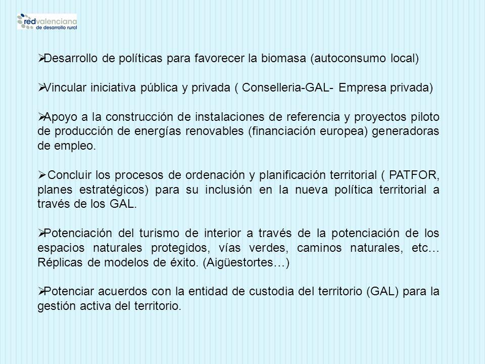 Desarrollo de políticas para favorecer la biomasa (autoconsumo local) Vincular iniciativa pública y privada ( Conselleria-GAL- Empresa privada) Apoyo