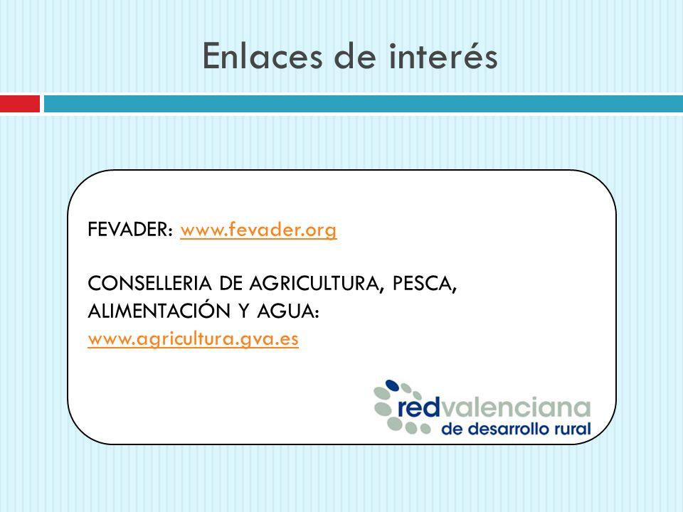 Enlaces de interés FEVADER: www.fevader.orgwww.fevader.org CONSELLERIA DE AGRICULTURA, PESCA, ALIMENTACIÓN Y AGUA: www.agricultura.gva.es
