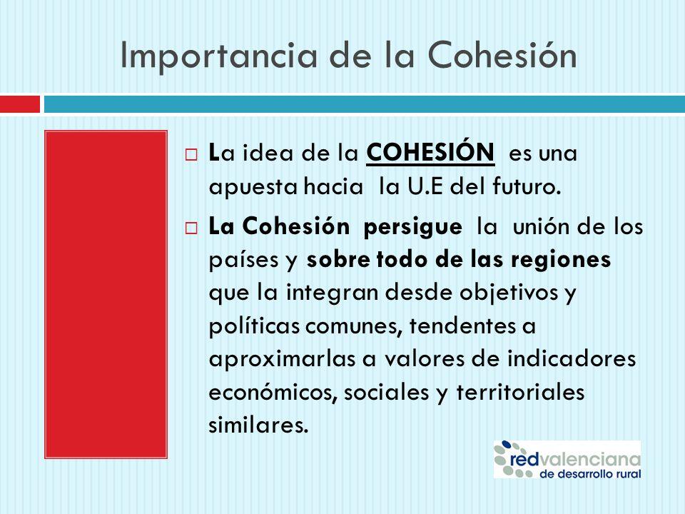 Importancia de la Cohesión La idea de la COHESIÓN es una apuesta hacia la U.E del futuro. La Cohesión persigue la unión de los países y sobre todo de