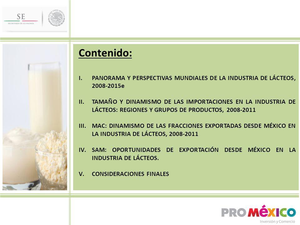 Contenido: I.PANORAMA Y PERSPECTIVAS MUNDIALES DE LA INDUSTRIA DE LÁCTEOS, 2008-2015e II.TAMAÑO Y DINAMISMO DE LAS IMPORTACIONES EN LA INDUSTRIA DE LÁCTEOS: REGIONES Y GRUPOS DE PRODUCTOS, 2008-2011 III.MAC: DINAMISMO DE LAS FRACCIONES EXPORTADAS DESDE MÉXICO EN LA INDUSTRIA DE LÁCTEOS, 2008-2011 IV.SAM: OPORTUNIDADES DE EXPORTACIÓN DESDE MÉXICO EN LA INDUSTRIA DE LÁCTEOS.