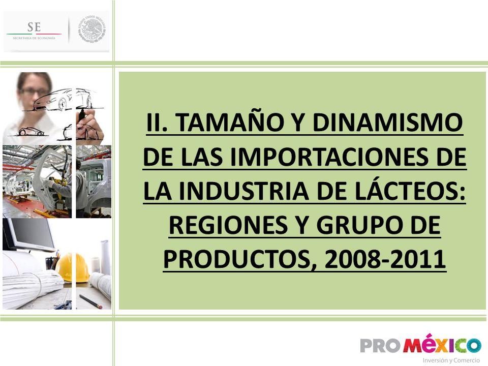 II. TAMAÑO Y DINAMISMO DE LAS IMPORTACIONES DE LA INDUSTRIA DE LÁCTEOS: REGIONES Y GRUPO DE PRODUCTOS, 2008-2011