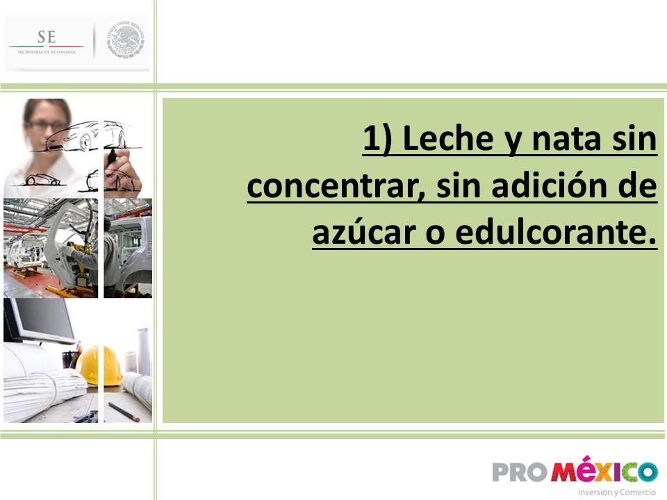 1) Leche y nata sin concentrar, sin adición de azúcar o edulcorante.