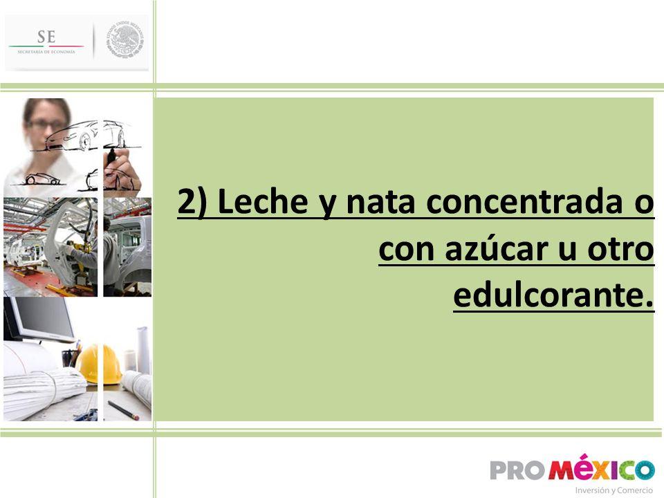 2) Leche y nata concentrada o con azúcar u otro edulcorante.
