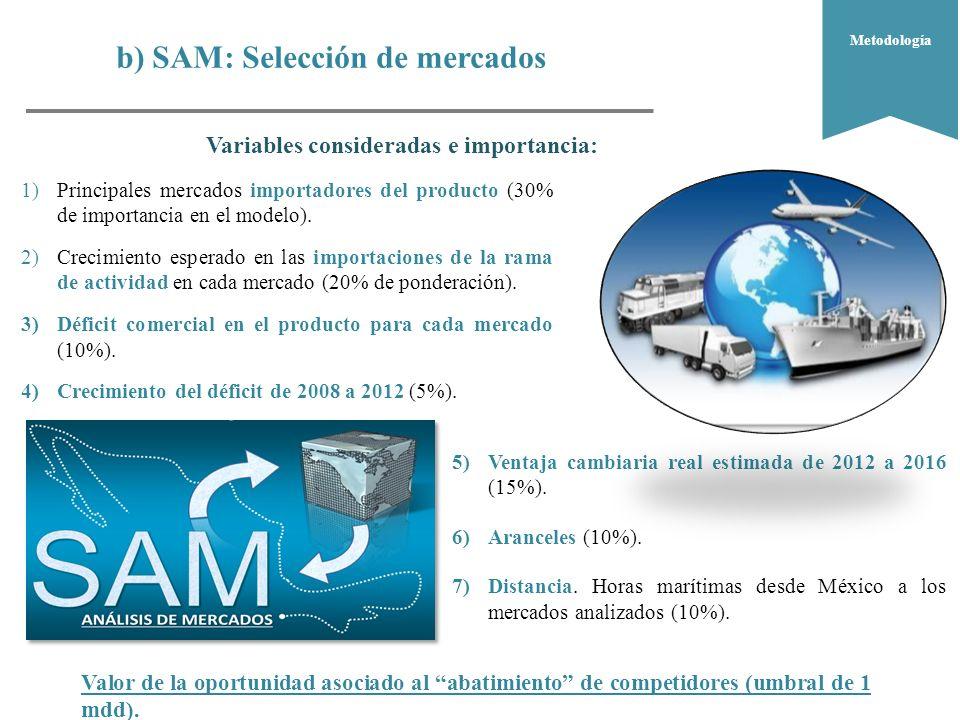 b) SAM: Selección de mercados ¿Dónde.¿Qué.