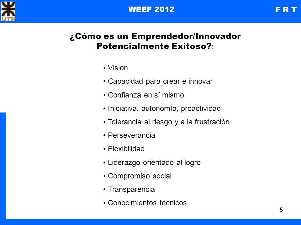 6 WEEF 2012 F R T Entonces, ¿qué rol debería asumir una carrera de ingeniería que quiere favorecer el desarrollo de profesionales con perfiles innovadores y emprendedores.
