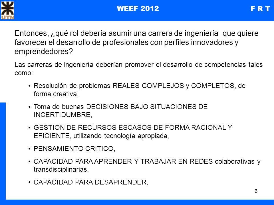 7 WEEF 2012 F R T Qué quisimos conocer ¿Cómo contribuye la carrera de Ingeniería de Sistemas de Información, en la FRT a la formación de perfiles como los descritos anteriormente.