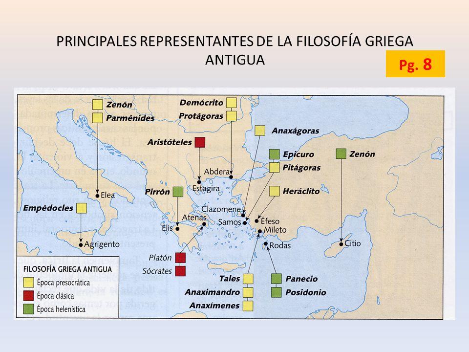 PRINCIPALES REPRESENTANTES DE LA FILOSOFÍA GRIEGA ANTIGUA Pg. 8