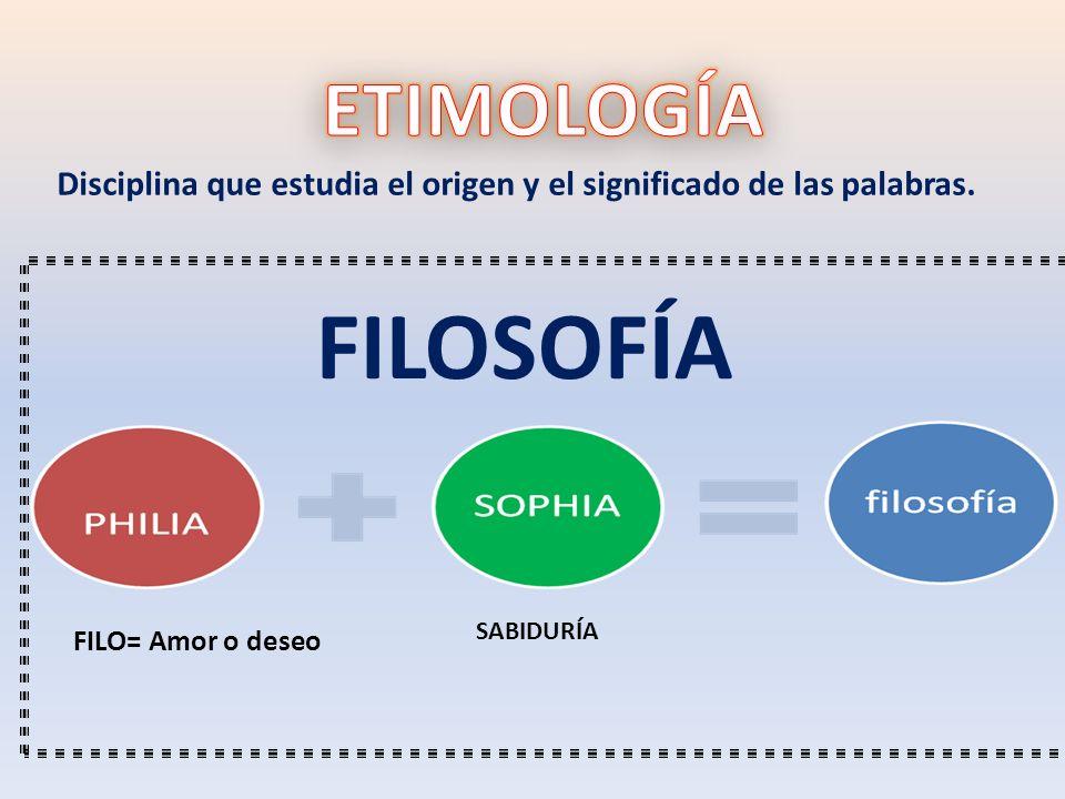 FILO= Amor o deseo SABIDURÍA FILOSOFÍA Disciplina que estudia el origen y el significado de las palabras.