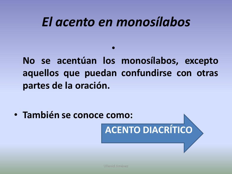 El acento en monosílabos No se acentúan los monosílabos, excepto aquellos que puedan confundirse con otras partes de la oración. También se conoce com