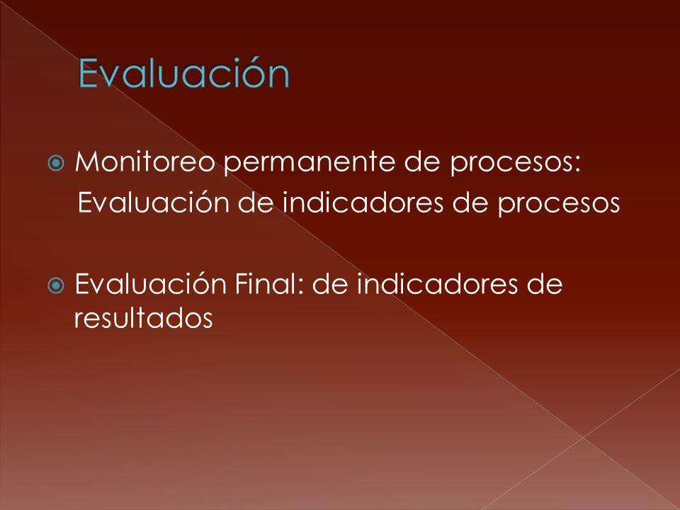 Monitoreo permanente de procesos: Evaluación de indicadores de procesos Evaluación Final: de indicadores de resultados