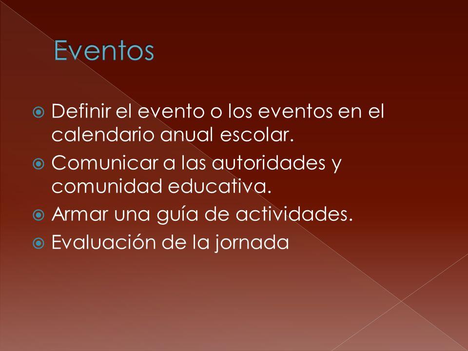 Definir el evento o los eventos en el calendario anual escolar. Comunicar a las autoridades y comunidad educativa. Armar una guía de actividades. Eval