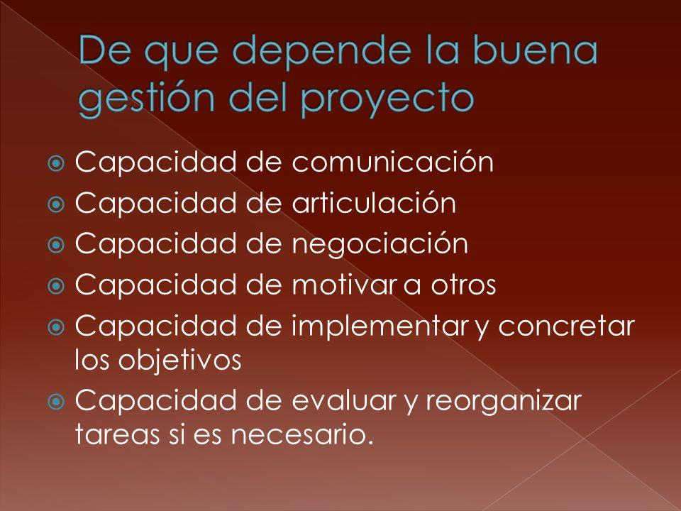Capacidad de comunicación Capacidad de articulación Capacidad de negociación Capacidad de motivar a otros Capacidad de implementar y concretar los obj
