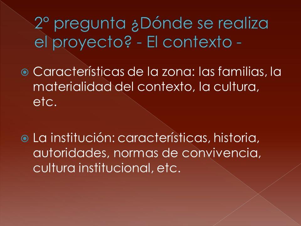 Características de la zona: las familias, la materialidad del contexto, la cultura, etc. La institución: características, historia, autoridades, norma