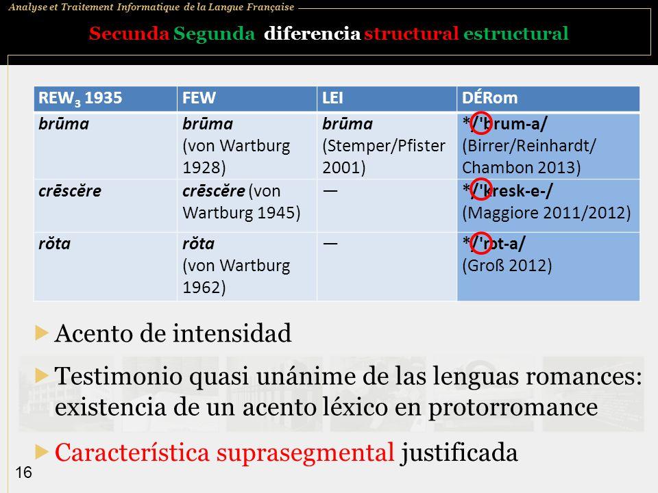 Analyse et Traitement Informatique de la Langue Française 16 Secunda Segunda diferencia structural estructural Acento de intensidad REW 3 1935FEWLEIDÉ