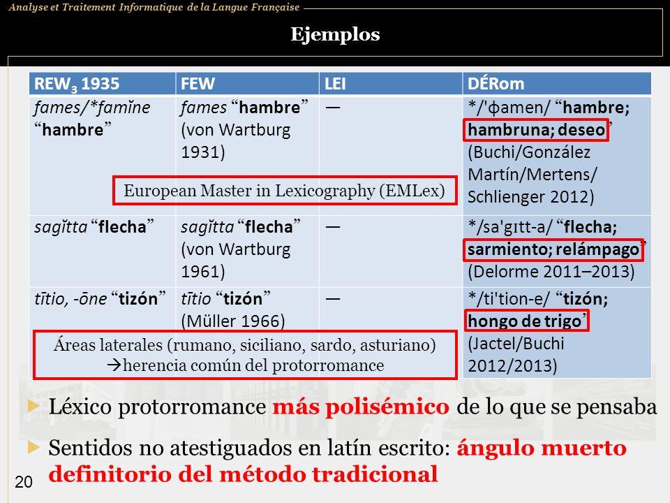 Analyse et Traitement Informatique de la Langue Française 20 Ejemplos Léxico protorromance más polisémico de lo que se pensaba REW 3 1935FEWLEIDÉRom f