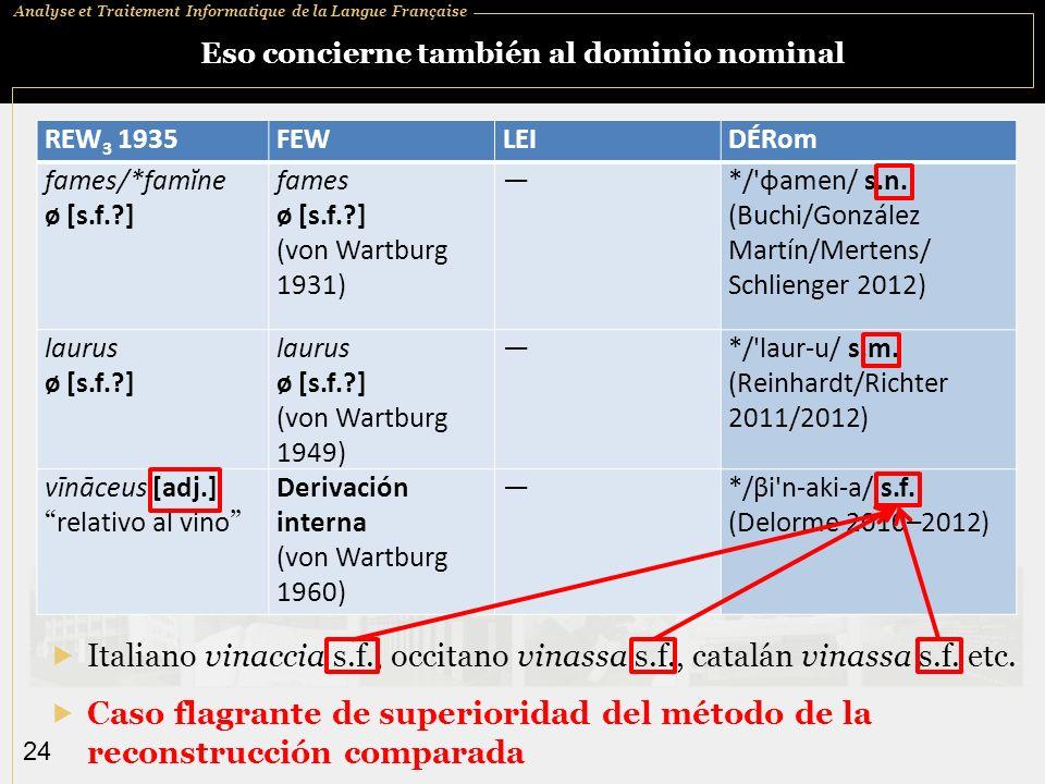 Analyse et Traitement Informatique de la Langue Française 24 Eso concierne también al dominio nominal Caso flagrante de superioridad del método de la