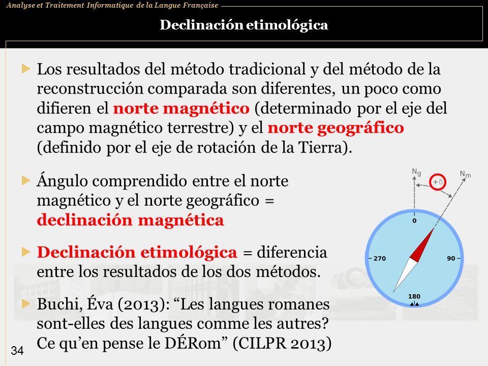 Analyse et Traitement Informatique de la Langue Française 34 Declinación etimológica Los resultados del método tradicional y del método de la reconstr