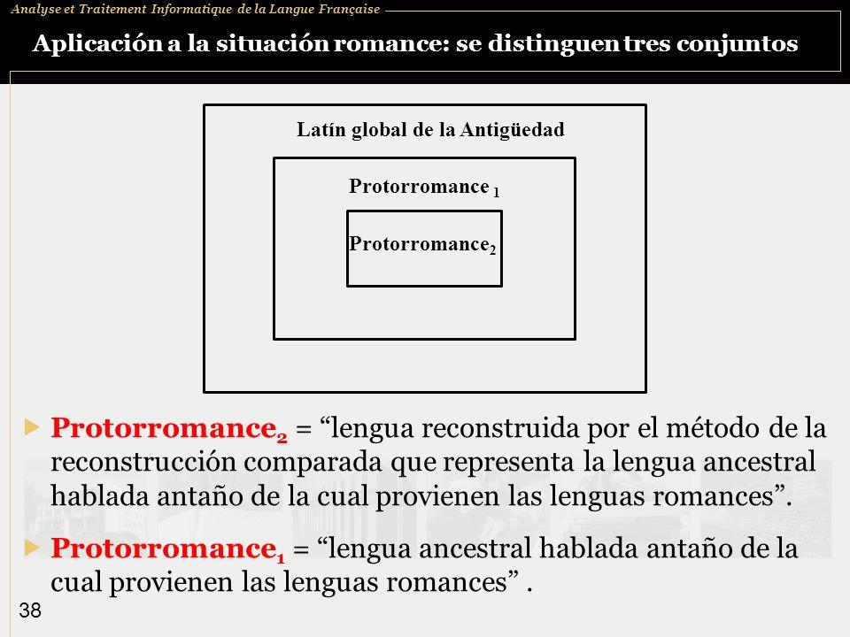 Analyse et Traitement Informatique de la Langue Française 38 Aplicación a la situación romance: se distinguen tres conjuntos Protorromance 2 = lengua