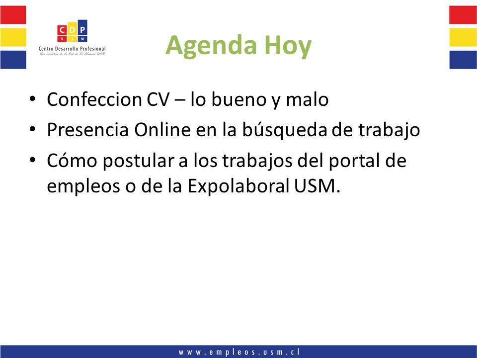 Agenda Hoy Confeccion CV – lo bueno y malo Presencia Online en la búsqueda de trabajo Cómo postular a los trabajos del portal de empleos o de la Expol