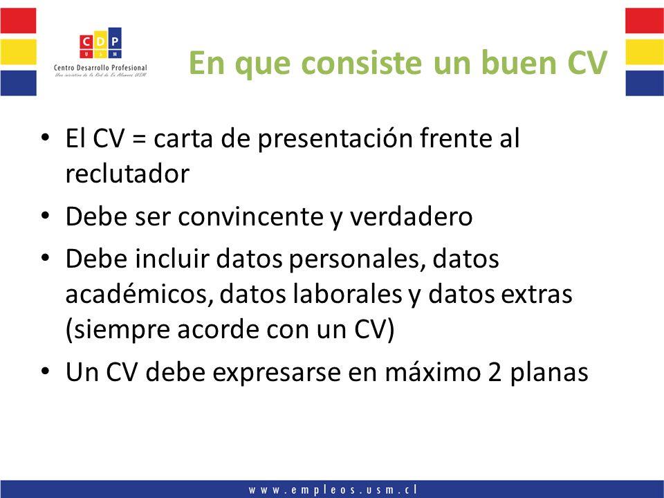 En que consiste un buen CV El CV = carta de presentación frente al reclutador Debe ser convincente y verdadero Debe incluir datos personales, datos ac