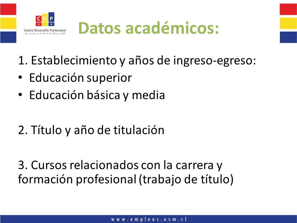 Datos académicos: 1. Establecimiento y años de ingreso-egreso: Educación superior Educación básica y media 2. Título y año de titulación 3. Cursos rel
