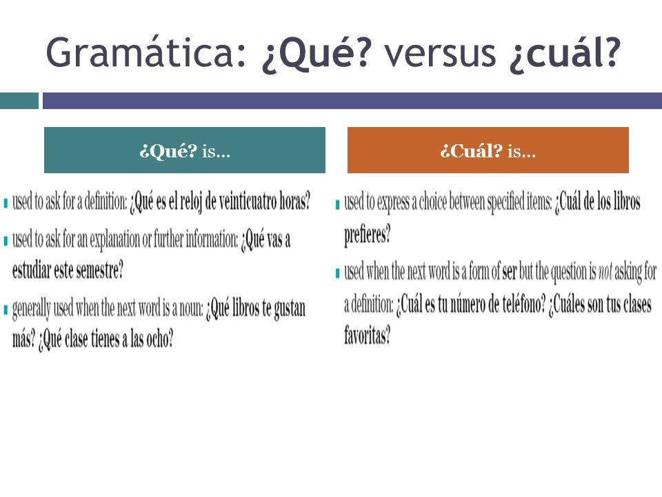 Gramática: ¿Qué? versus ¿cuál? ¿Qué? is…¿Cuál? is…