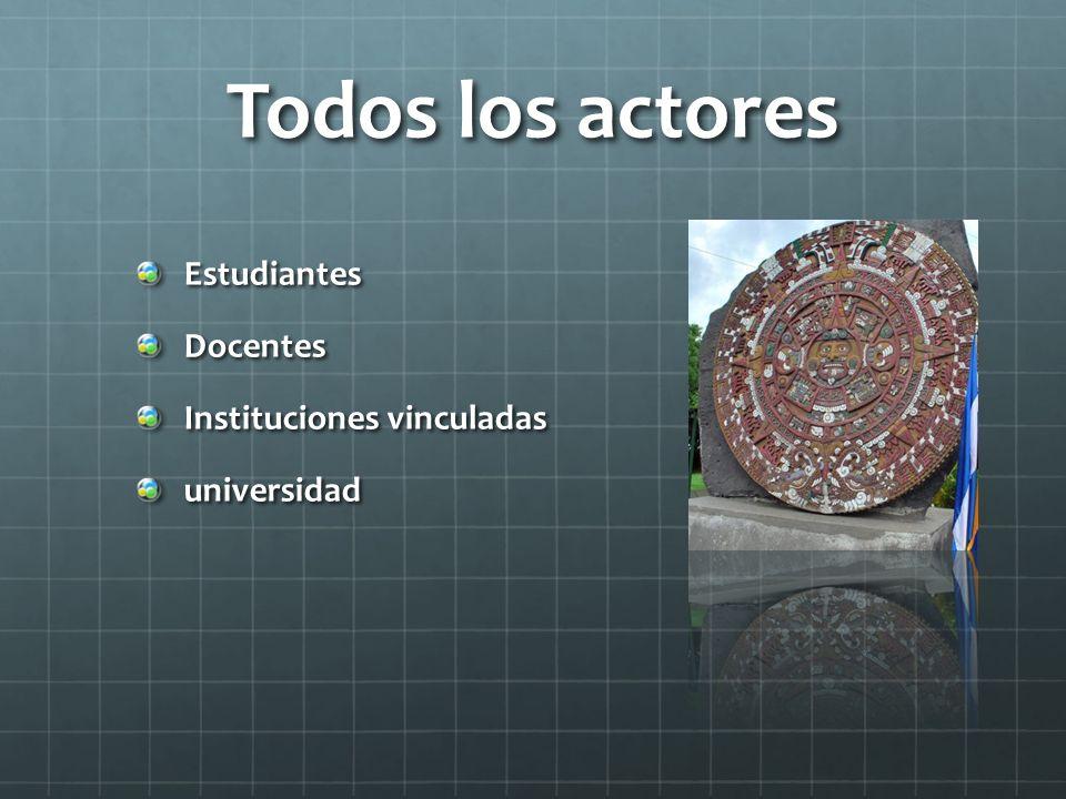 Todos los actores EstudiantesDocentes Instituciones vinculadas universidad