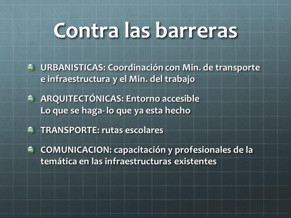 Contra las barreras URBANISTICAS: Coordinación con Min. de transporte e infraestructura y el Min. del trabajo ARQUITECTÓNICAS: Entorno accesible Lo qu