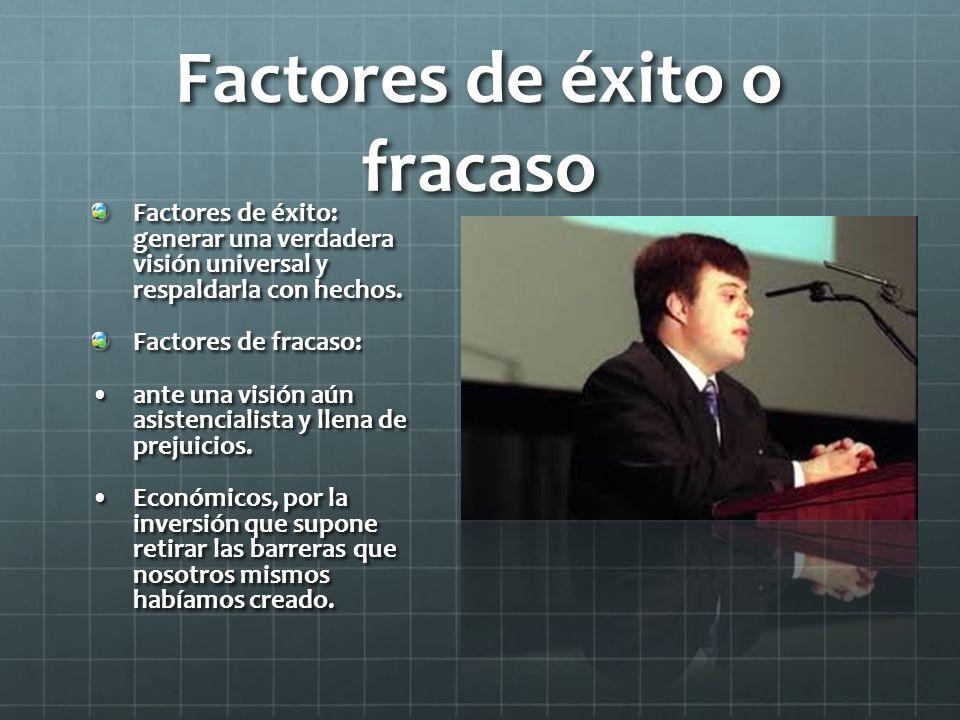 Factores de éxito o fracaso Factores de éxito: generar una verdadera visión universal y respaldarla con hechos.