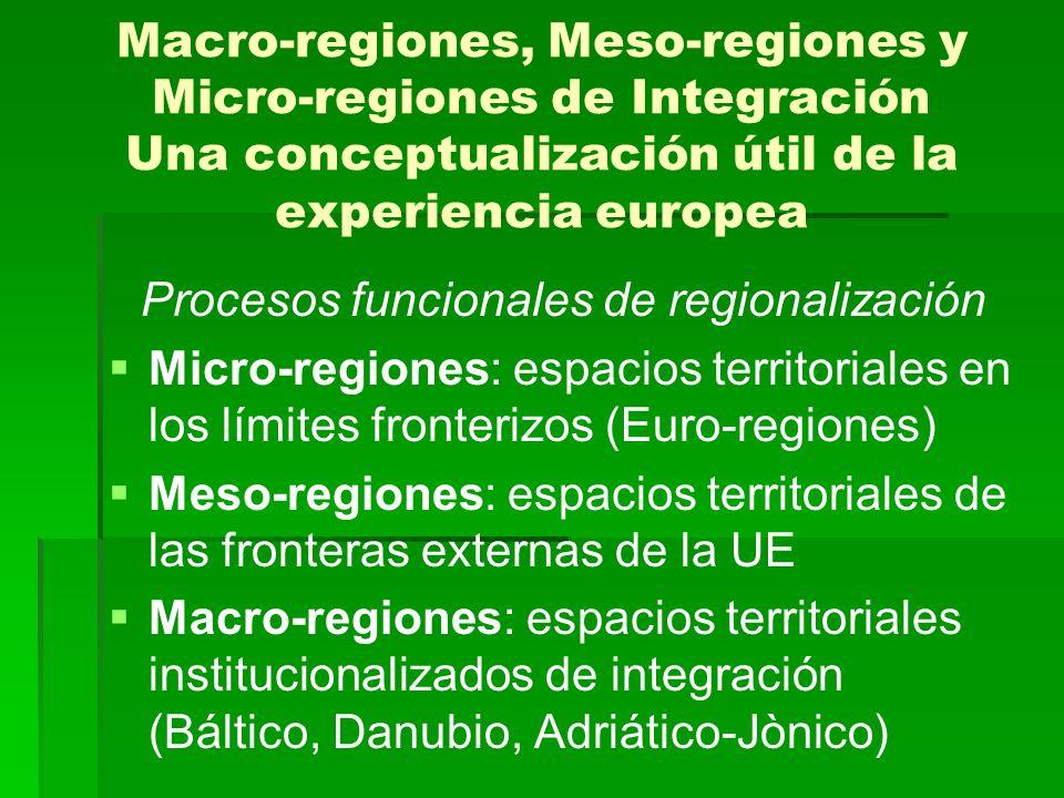 Macro-regiones, Meso-regiones y Micro-regiones de Integración Una conceptualización útil de la experiencia europea Procesos funcionales de regionaliza
