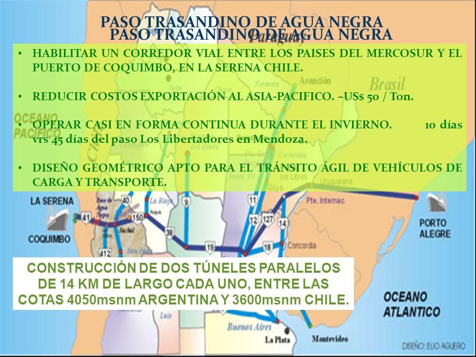 PASO TRASANDINO DE AGUA NEGRA HABILITAR UN CORREDOR VIAL ENTRE LOS PAISES DEL MERCOSUR Y EL PUERTO DE COQUIMBO, EN LA SERENA CHILE. REDUCIR COSTOS EXP