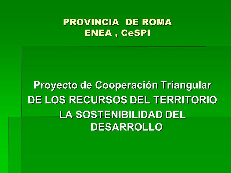 PROVINCIA DE ROMA ENEA, CeSPI Proyecto de Cooperación Triangular DE LOS RECURSOS DEL TERRITORIO LA SOSTENIBILIDAD DEL DESARROLLO
