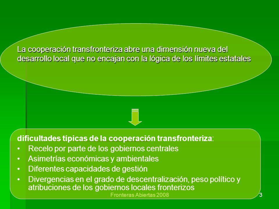 Fronteras Abiertas 20083 La cooperación transfronteriza abre una dimensión nueva del desarrollo local que no encajan con la lógica de los límites esta
