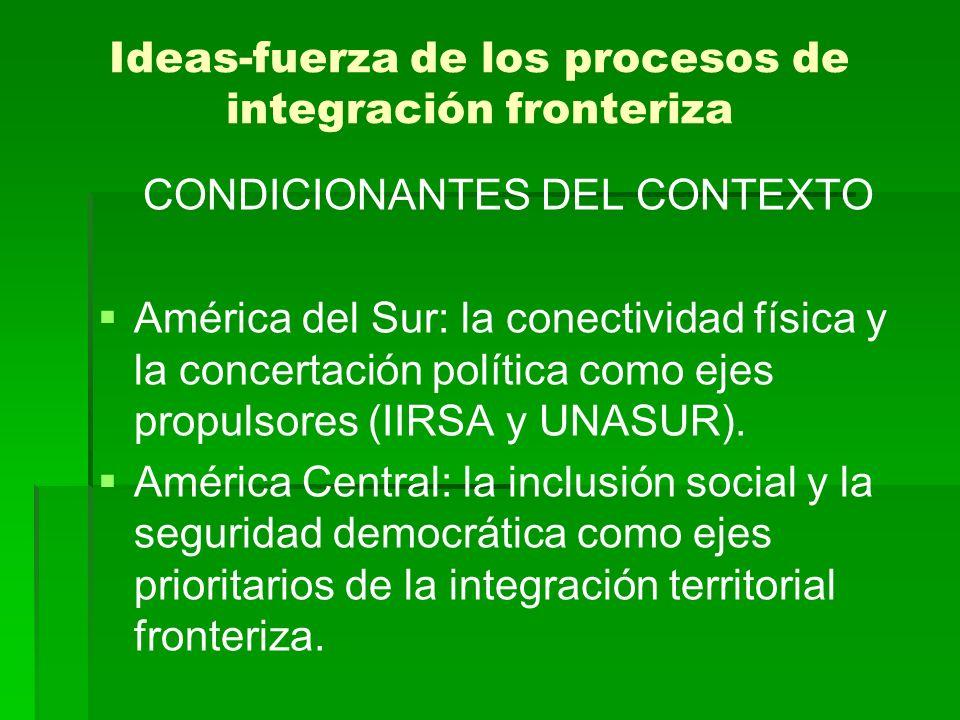 Ideas-fuerza de los procesos de integración fronteriza CONDICIONANTES DEL CONTEXTO América del Sur: la conectividad física y la concertación política